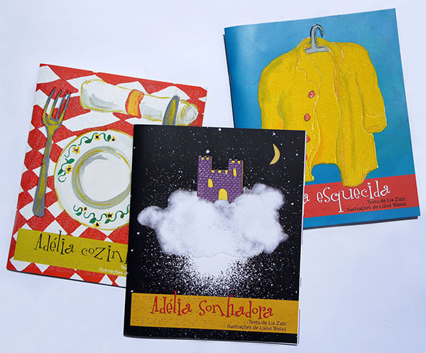 """Capas dos livros da coleção """"Adélia""""."""