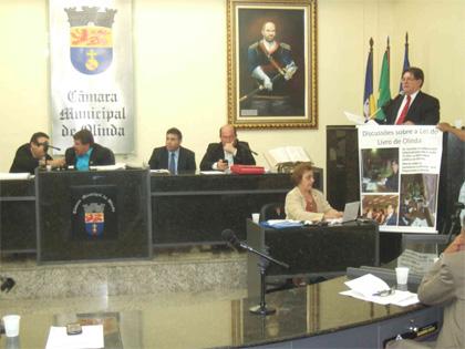 Foto da Aprovação na Câmara de Olinda em 08 Dezembro de 2011.