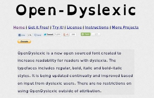 Imagem de um texto com as letras Open-Dyslexic: A base das letras são mais grossas.