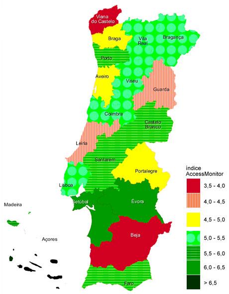 Índice AccessMonitor por regiões.