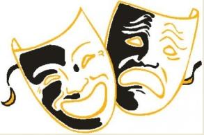 Símbolo do teatro. Duas máscaras: uma sorrindo e outra chorando.